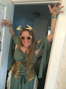 "Roommate Jess, AKA ""The Goblin Queen,"" who is the only one I know who can combine Dolce and Gabbana sunglasses with corset, antlers, FitBit, and Greek Goddess sea-foam shift, and make it look... cool."