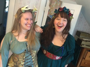 Roomates Jess (left), in Shipwreck Corset. Betsie (right), wearing some flowers she made.